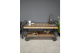 Industrial style metal coffee table with wheels, storage unit with pull out draw