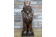 Stunning Copper Bronze Lion with Kings Crown, Bronze Lion Ornament with Crown