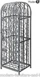 Antique style free standing 45 bottle wi, silver black iron wine rack