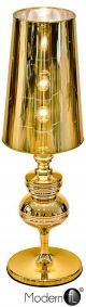 Contemporary reflective gold table lamp, designer bedside lamp in gold