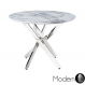 Stunning Round Marble effect Dining table with Chrome Cross Leg, 100cm diameter