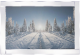 Snowy winter picture with glitter detail in mirrored frame, glitter art 100x60