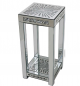 Square Mirrored Glitz side table with crushed diamonds, sunburst side table