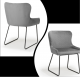 Pair of contemporary grey velvet dining chairs with black metal leg