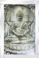Stunning sitting Buddha with 3D glitter in mirrored frame, golden glitter detail