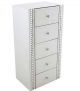 White glass 5 drawer tall boy with acrylic crystals 113.8cm high