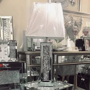Crushed diamond mirrored table lamp with silver threaded shade