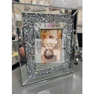 Luxury crushed diamond 6x4 mirrored photo frame, glitz sparkle picture frame