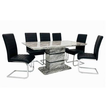Modern Grey marble effect dining table with 6 black stripe dining chairs