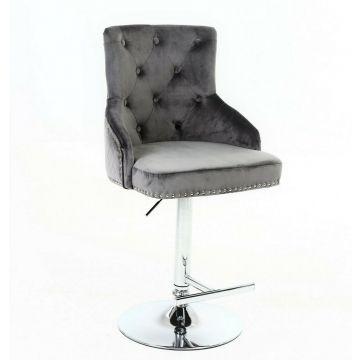 New light grey velvet swivel bar stool with Lion knocker and cross stitch