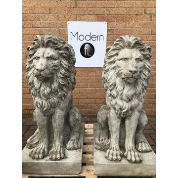Pair of Large Sitting Lion garden ornament cast in concrete