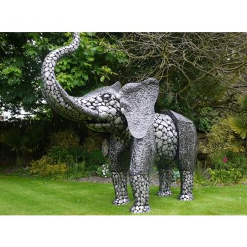Large black and silver Elephant garden statue