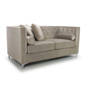 Mink Diamante 2 Seater Brushed Velvet Sofa