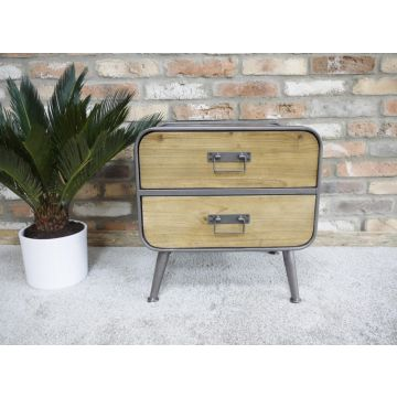 Industrial style 2 drawer bedside cabinet