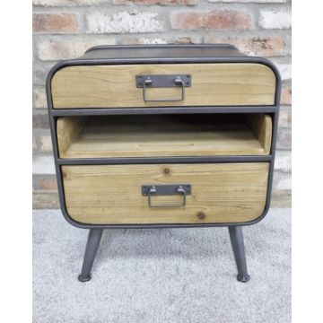 Industrial style metal and wood side table