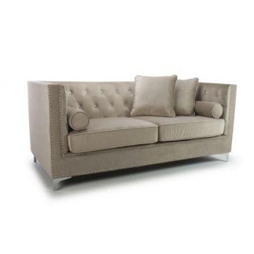 Mink Diamante 3 Seater Brushed Velvet Sofa