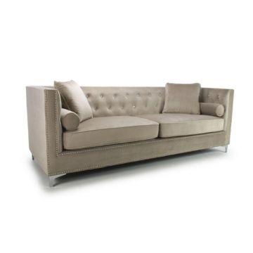 Mink Diamante 4 Seater Brushed Velvet Sofa