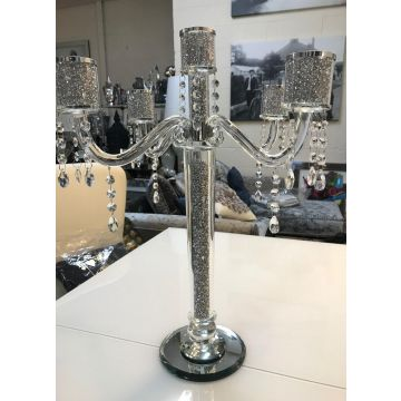 5 arm crushed diamond candelabra