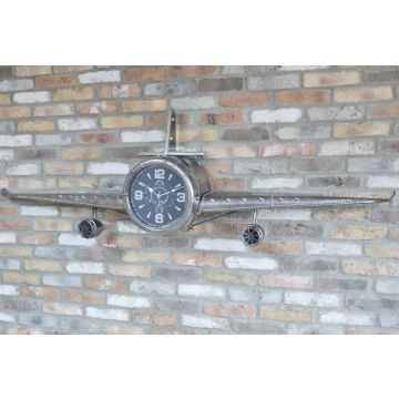 Large silver metal aeroplane wall clock ornament 2 metres wide