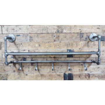Large industrial shelf with coat hooks