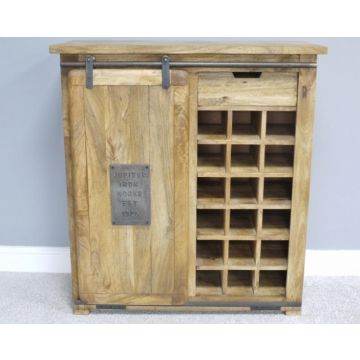 Industrial wood wine cabinet