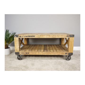 Industrial style wooden coffee table with wheels