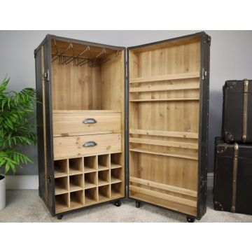 Retro Style Wood Wine Cabinet, Luggage Wine Drinks Trolley