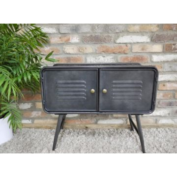 Black metal industrial style cabinet with chequer plate top and sides