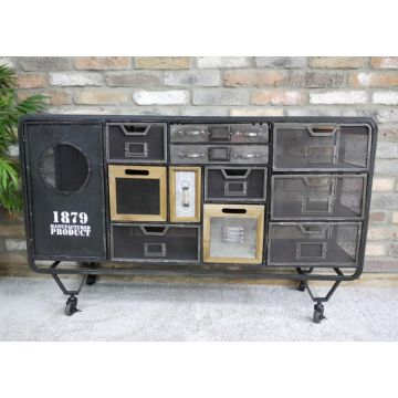 Metal industrial sideboard with drawers, reclaimed style cabinet with mesh sides