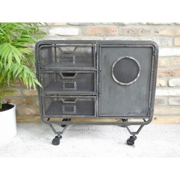 Metal industrial small side cabinet on wheels with mesh sides