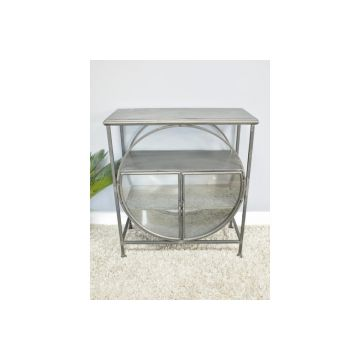 Industrial Style Metal Display Cabinet with Circle Feature