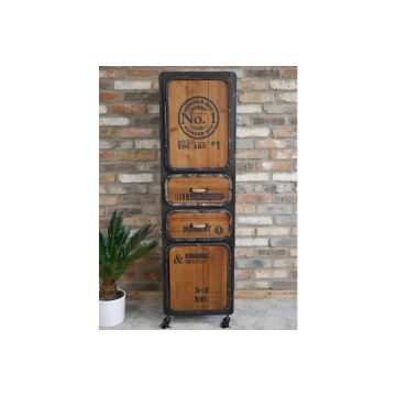 Industrial Style Number One Cabinet with metal and fir wood