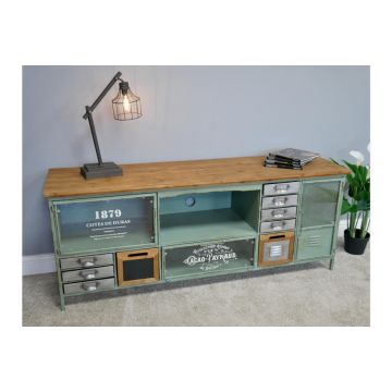 Quirky Blue Industrial TV and Media Unit