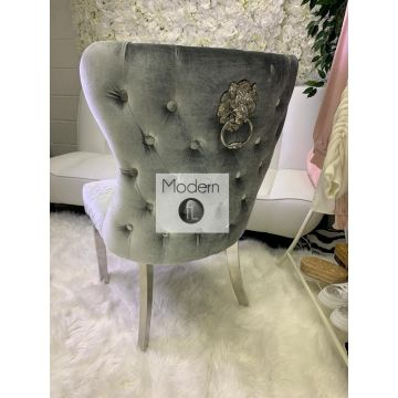 x2 Silver grey luxury dining chair with stud button back and lion knocker