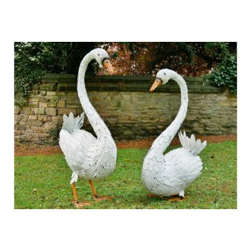 New Metal White Pair of Swan Garden Ornaments