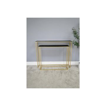 Glamorous Set of 2 Black and Gold Side Tables