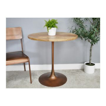 Iron and Mango Wood Table with  Antique Copper Style Finish