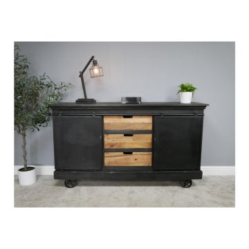 Mango Wood and Iron Large Industrial Sideboard