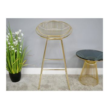Pair of Gold Finish Steel Bar Stools