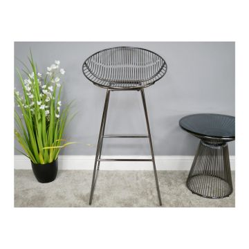 Pair of Black Chrome Finish Steel Bar Stools