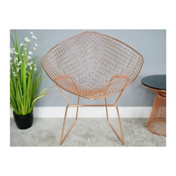 Copper Finish Metal Bucket Chair