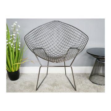 Black Chrome Finish Metal Bucket Chair