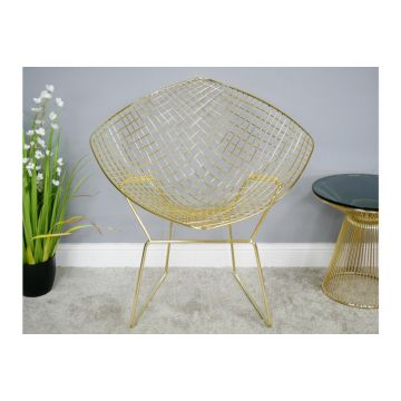 Gold Finish Metal Bucket Chair