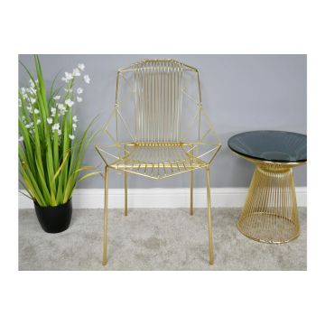 Pair of Gold Finish Metal Chair