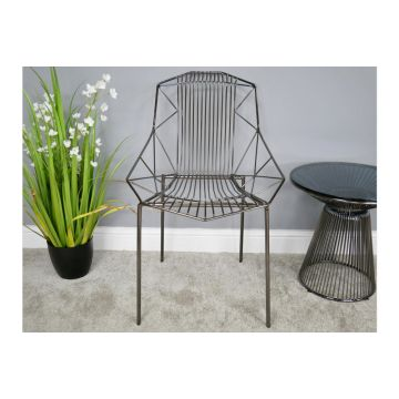 Pair of Black Chrome Finish Metal Chair