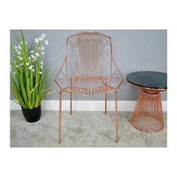 Pair of Copper Chrome Finish Metal Chair