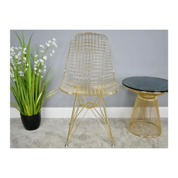Pair of Gold Finish Steel Dining Chairs