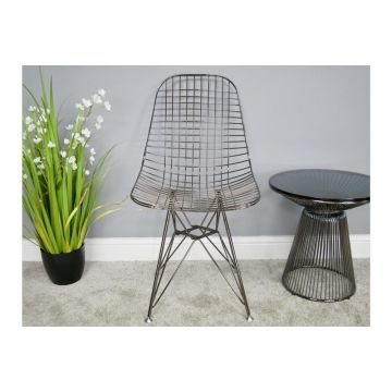Pair of Black Chrome Finish Steel Dining Chairs