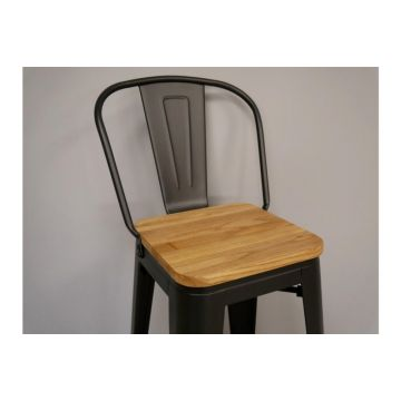 Pair of Luxury Wood and Metal Breakfast Bar Stool