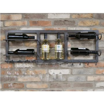 Metal Wine Wall Unit, Industrial Style Wine Wall Unit